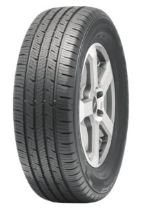 The Falken Sincera SN201 tire mounted onto a rim showing its tread design