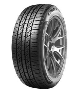 Kumho Crugen Premium tire mounted on a rim showing its tread design