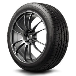 Michelin Primacy MXM4 tire on a rim showing the tires tread pattern