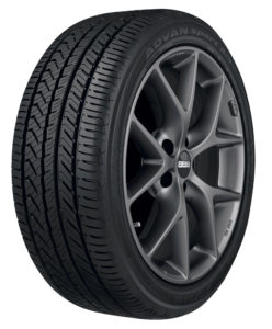 Yokohama Advan Sport A/S tire installed onto a rim showing the tires tread design.